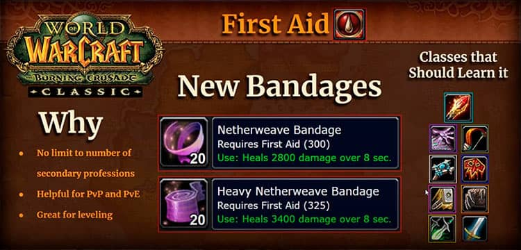 First Aid - Choose Profession in WoW TBC
